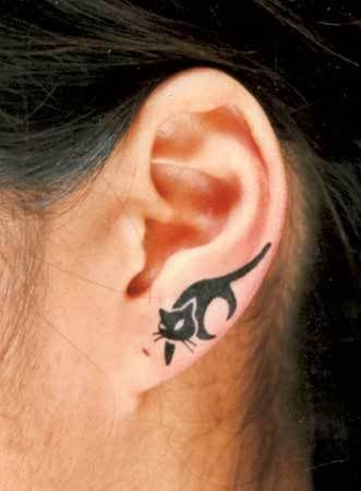 Cat tattoo ear piece