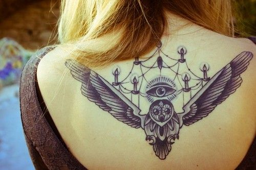 Chandelier and owl tattoo