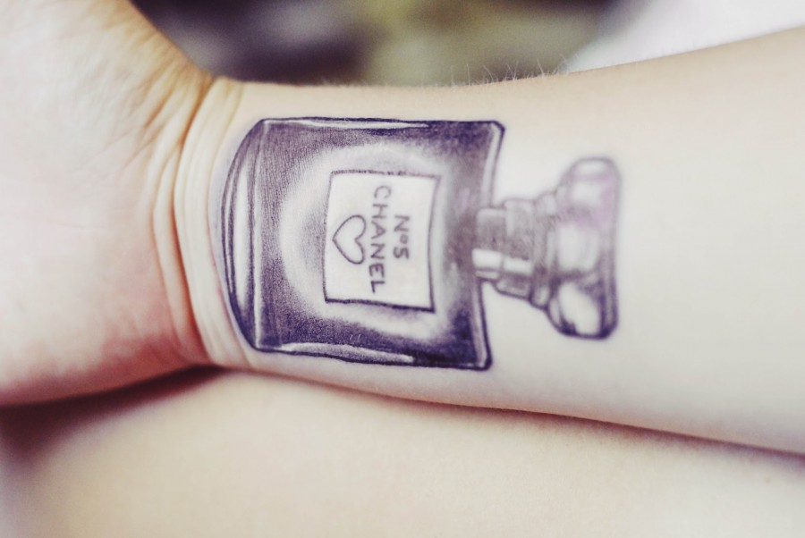 Chanel perfume bottle tattoo