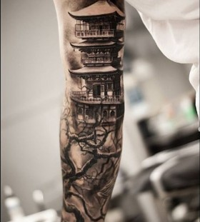 Chinese style architecture tattoo