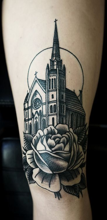 Church and rose tattoo by Philip Yarnell
