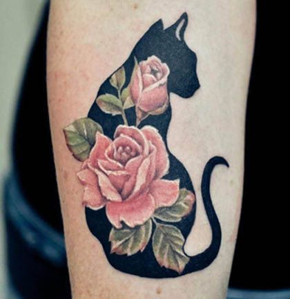 Classy cat and rose tattoo