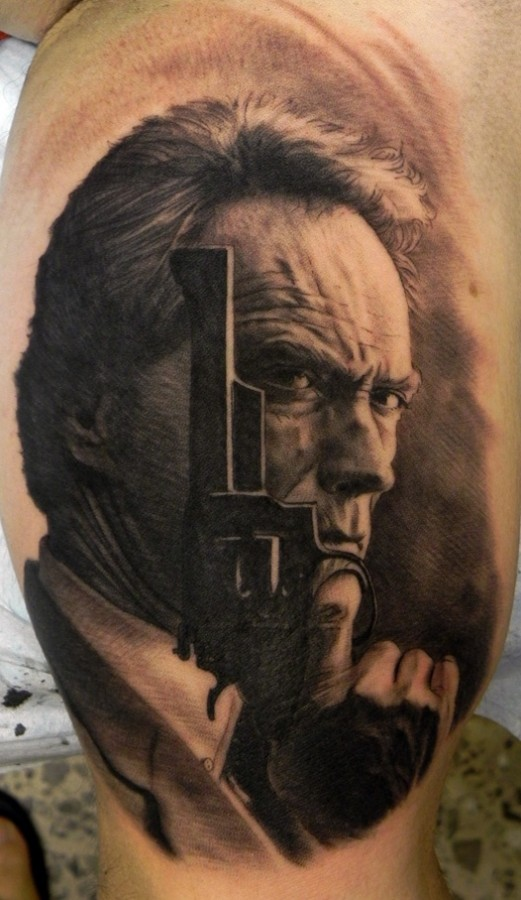 Clint Eastwood tattoo by Xavier Garcia Boix
