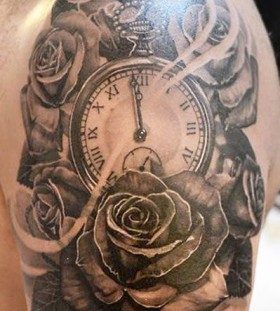 Clock and roses tattoo by Elvin Yong