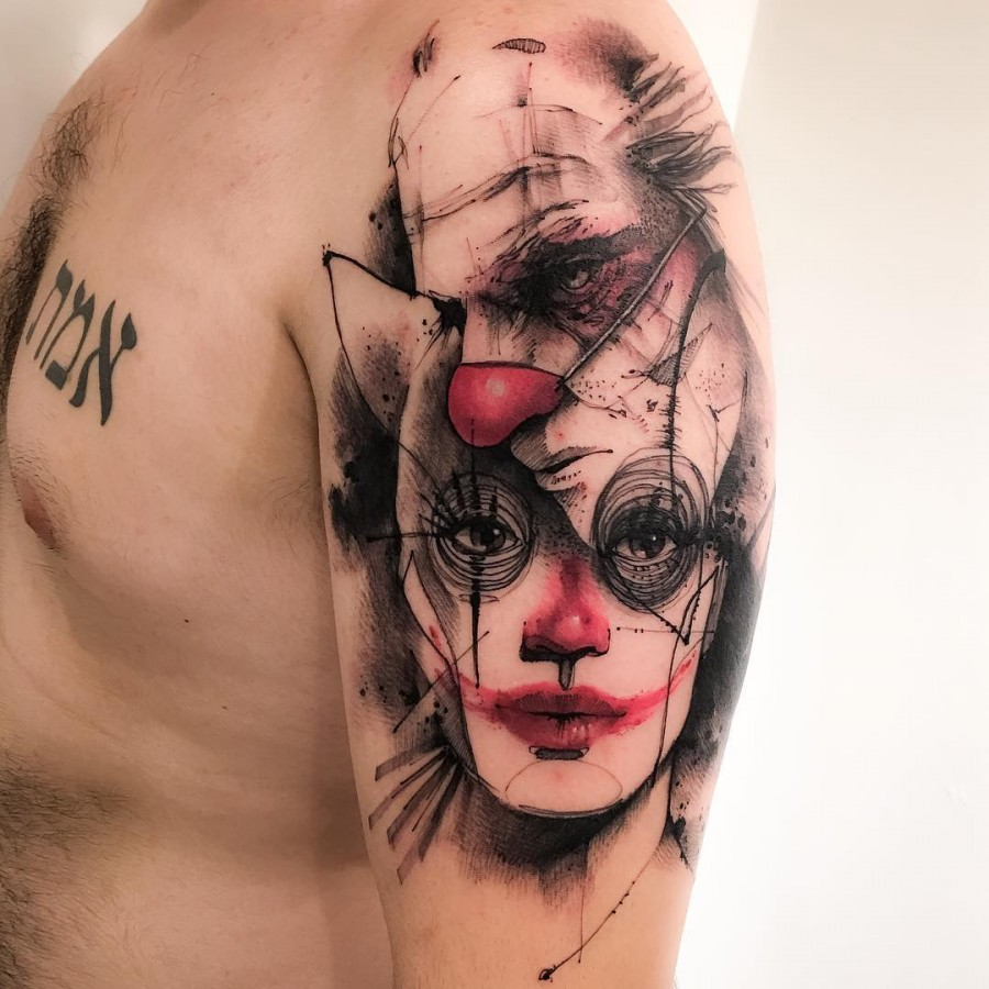 clown sketch style tattoo by victor montaghini