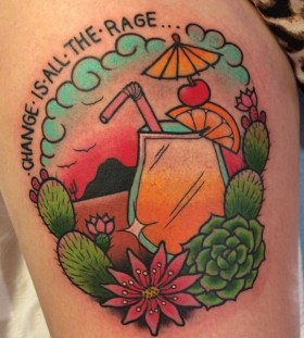 Cocktail and cactus tattoo by Clare Hampshire