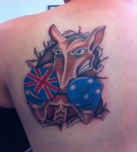 Coloured boxing kangaroo back tattoo