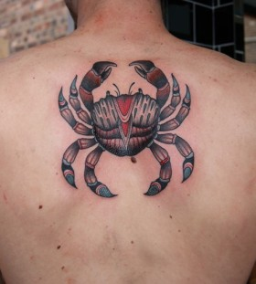 Coloured crab back tattoo
