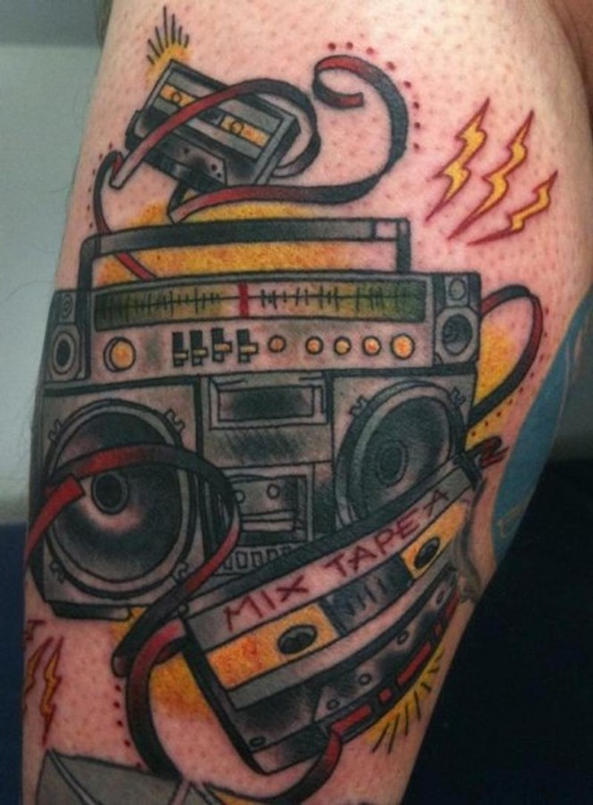 Coloured crazy boombox tattoo