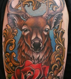 Coloured deer and rose tattoo