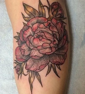 Coloured flower tattoo by Rachel Hauer