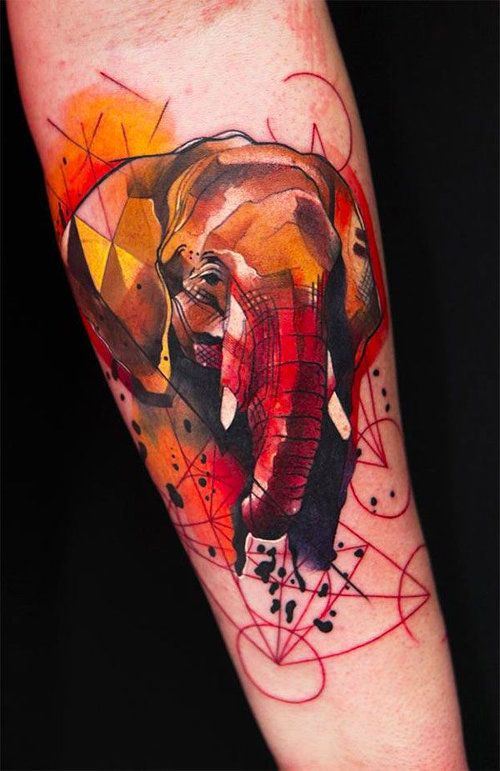 Coloured geometric elephant tattoo