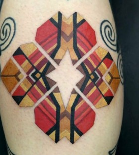 Coloured geometrical tattoo by Brian Gomes