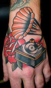 Coloured gramophone hand tattoo