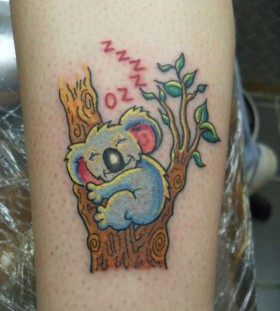 Coloured koala bear tattoo