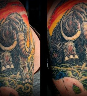 Coloured mammoth tattoo