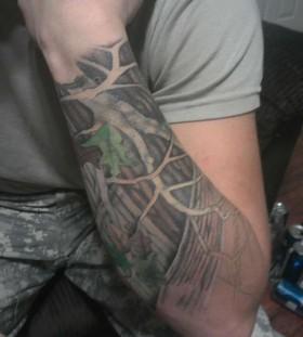 Coloured oak tree arm tattoo