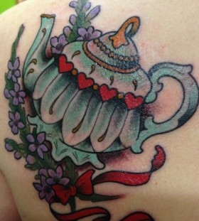 Coloured teapot back tattoo