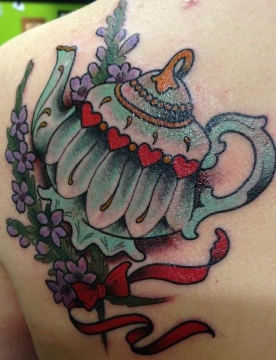 Coloured teapot back tattoo