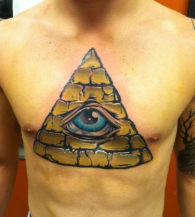 Coloured triangle eye chest tattoo