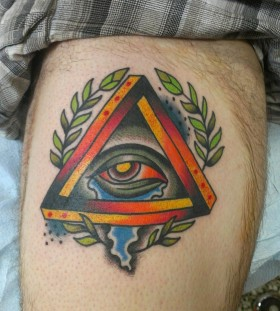 Coloured triangle eye leg tattoo