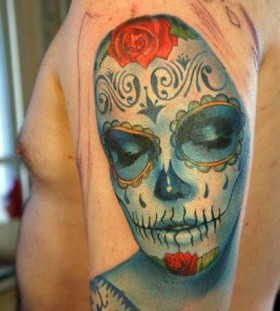 Colourful Santa Muerte tattoo