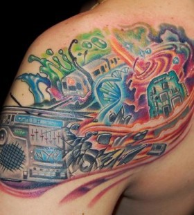 Colourful boombox tattoo
