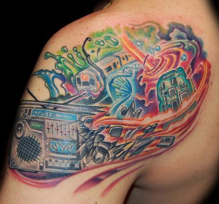 Colourful boombox tattoo