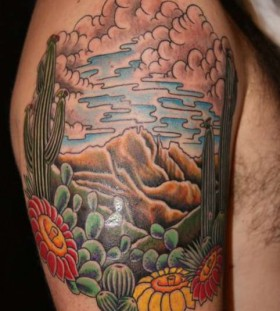Colourful cactus sleeve tattoo
