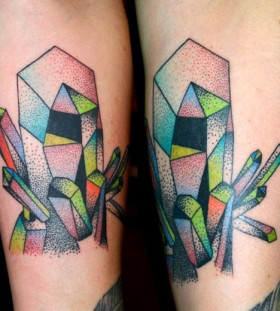 Colourful crystals leg tattoo