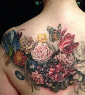 Colourful flowers back tattoo by Esther Garcia