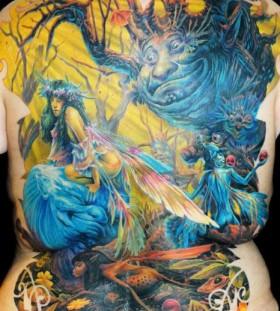 Colourful full back tattoo by James Tattooart
