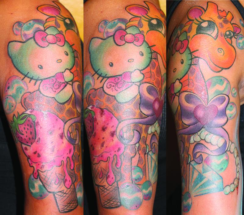 4509c3deb6f84 Colourful hello kitty tattoo - | TattooMagz › Tattoo Designs / Ink ...