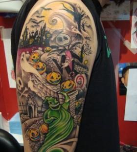 Colourful jack skellington tattoo