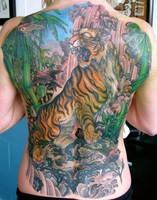 Colourful jungle back tattoo