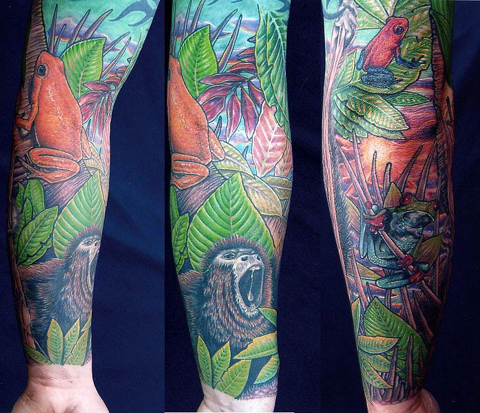 Colourful jungle theme tattoo