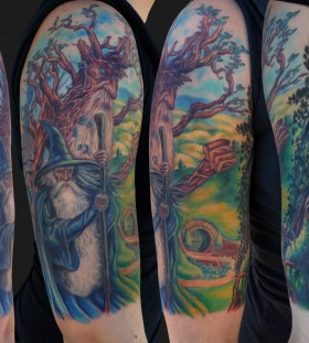 Colourful lord of the rings tattoo