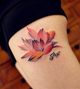 Colourful lotuts tattoo by Chen Jie