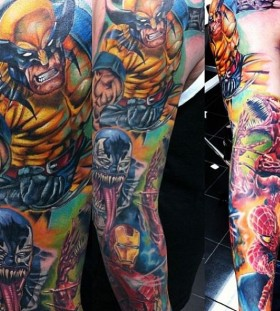 Colourful marvel warriors tattoo
