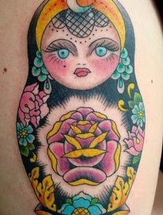 Colourful matryoshka tattoo
