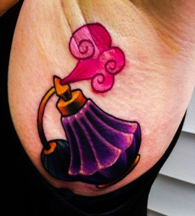 Colourful perfume bottle tattoo