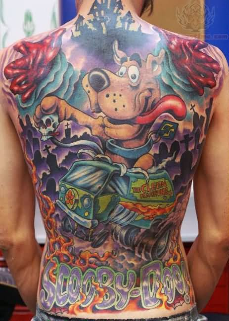 Colourful scooby doo back tattoo