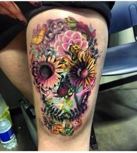 Colourful skull of flowers tattoo