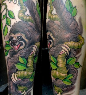 Colourful sloth tattoo
