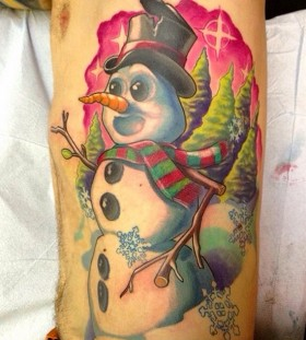 Colourful snowman side tattoo
