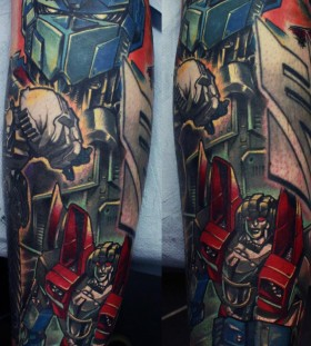 Colourful transformers tattoo