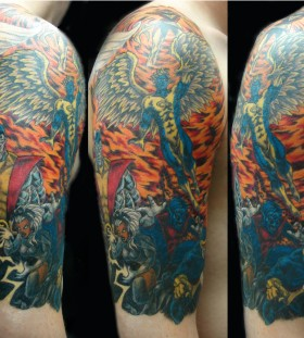 Colourful x-men arm tattoo