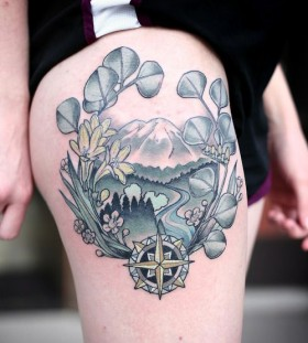 Compass and landscape tattoo by Kirsten Holliday