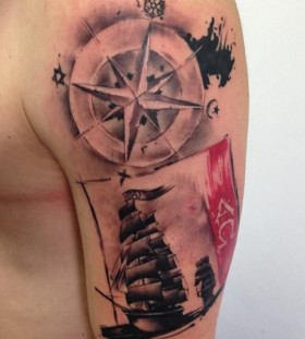 Compass and ship tattoo by Razvan Popescu