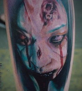 creepy Japanese horror movie tattoo